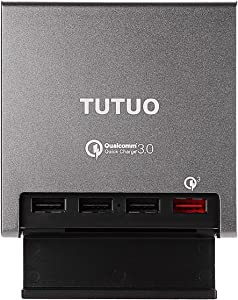 TUTUO QC-024P [Qualcomm Quick Charge 3.0] 40W 4-Port USB Desktop Charger, Smart AC Power Adapter Wall Charging Station for Galaxy S10, iPhone 11/11 pro/11pro max/xs, iPad Pro, LG, Nexus, HTC and More