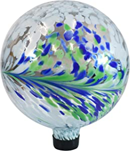 Sunnydaze Floral Spring Splash Gazing Ball - White, Blue and Green Decorative Glass Garden Globe Sphere - Outdoor Patio, Lawn and Yard Orb Ornament - 10-Inch