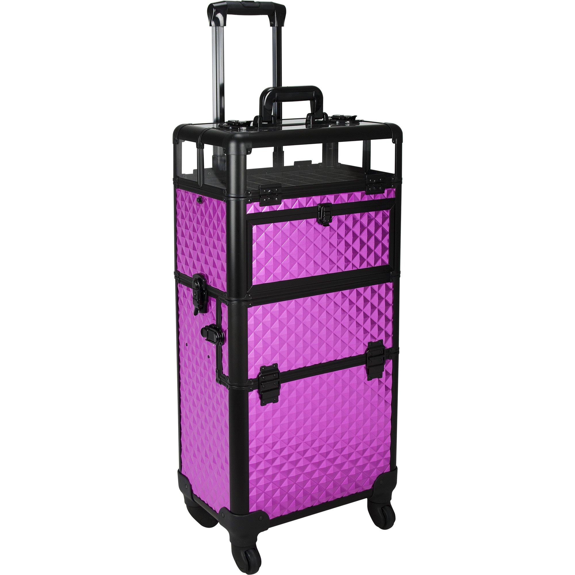 Sunrise Gloriosa 2-In-1 Rolling Makeup Case Professional Nail Travel Organizer Box, Purple Diamond, 20 Pound