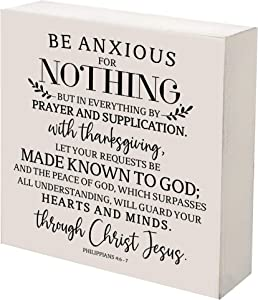 LifeSong Milestones Inspirational 6x6 Shadow Box Be Anxious for Nothing Gift for Parents, Couples House Christian Wall Art Decor for Husband, Wife Housewarming Gift Table and Shelf Sitters (White)