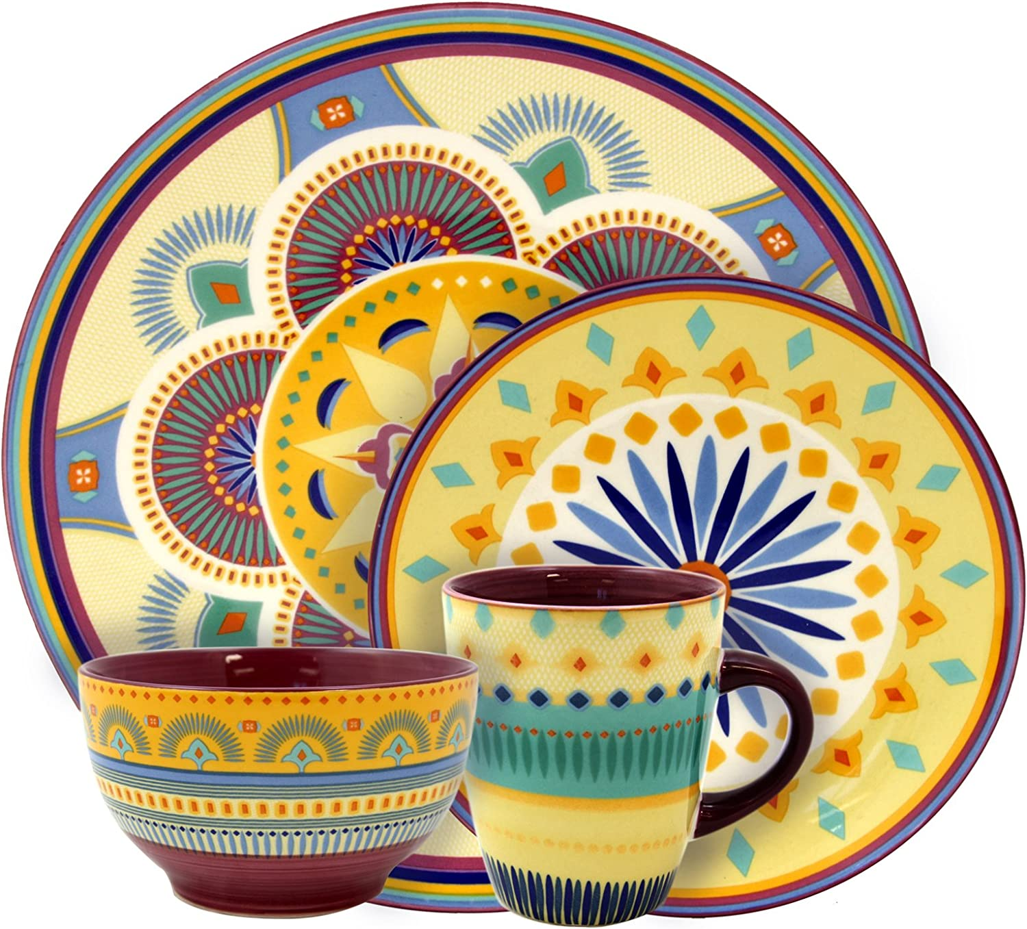 Elama Colorful Round Stoneware Pattern Dinnerware Dish Set, 16 Piece, Bright Yellow with Multicolor Accents