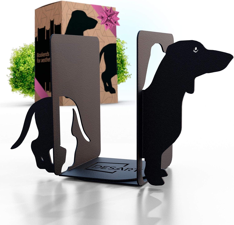 Metal Dog Bookends Decorative for Heavy Books & Dog Decor - Black Dachshund Book Ends for Kids & Dog Lovers - Book Holders for Shelves & Desktop Bookshelf