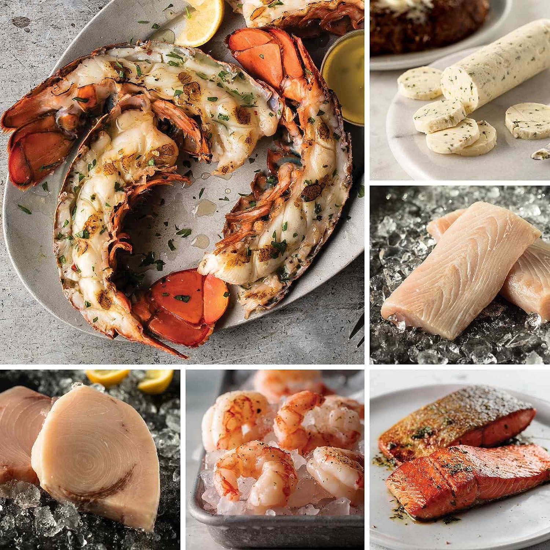 Exquisite Seafood Sampler from Omaha Steaks (Maine Lobster Tail Halves, Swordfish Steaks, Wild Argentinian Red Shrimp, Wild Alaskan Skin-On Sockeye Salmon, Mahi Mahi, Seasoned Butter Sauce, and more)