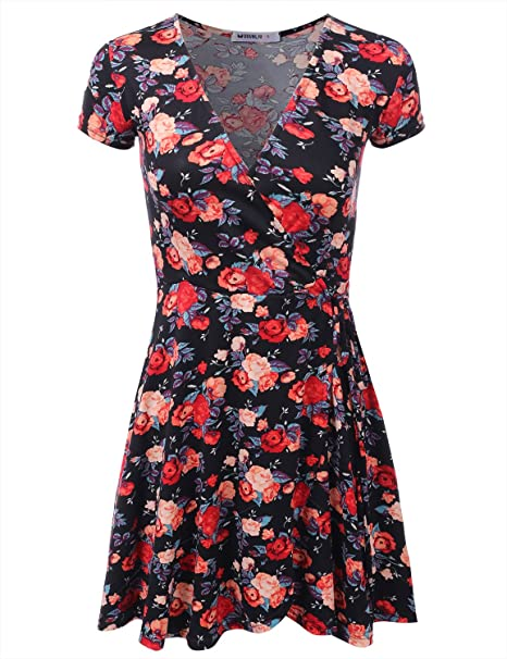 488018f7d1483 Doublju Short Sleeve Surplice Wrap A-Line Dress for Women with Plus Size  BLACKROSE Small