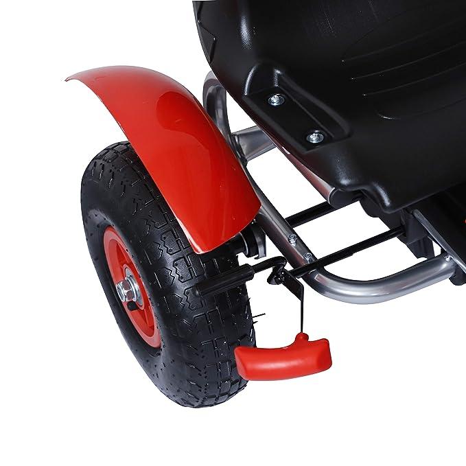 HOMCOM Coche de Pedales Go Kart Racing Deportivo con Asiento Ajustable Embrague y Freno para Niños 3-8 Años Carga 50kg Juguete Exterior 80x49x50cm Acero: ...
