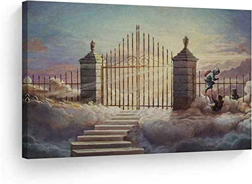 Smile Art Design Banksy Canvas Print Walled Off Hotel Pearly Gates Children Oil Painting Artwork Banksy Wall Art Modern Art Wall Decor Living Room Office Home Decor Ready to Hang