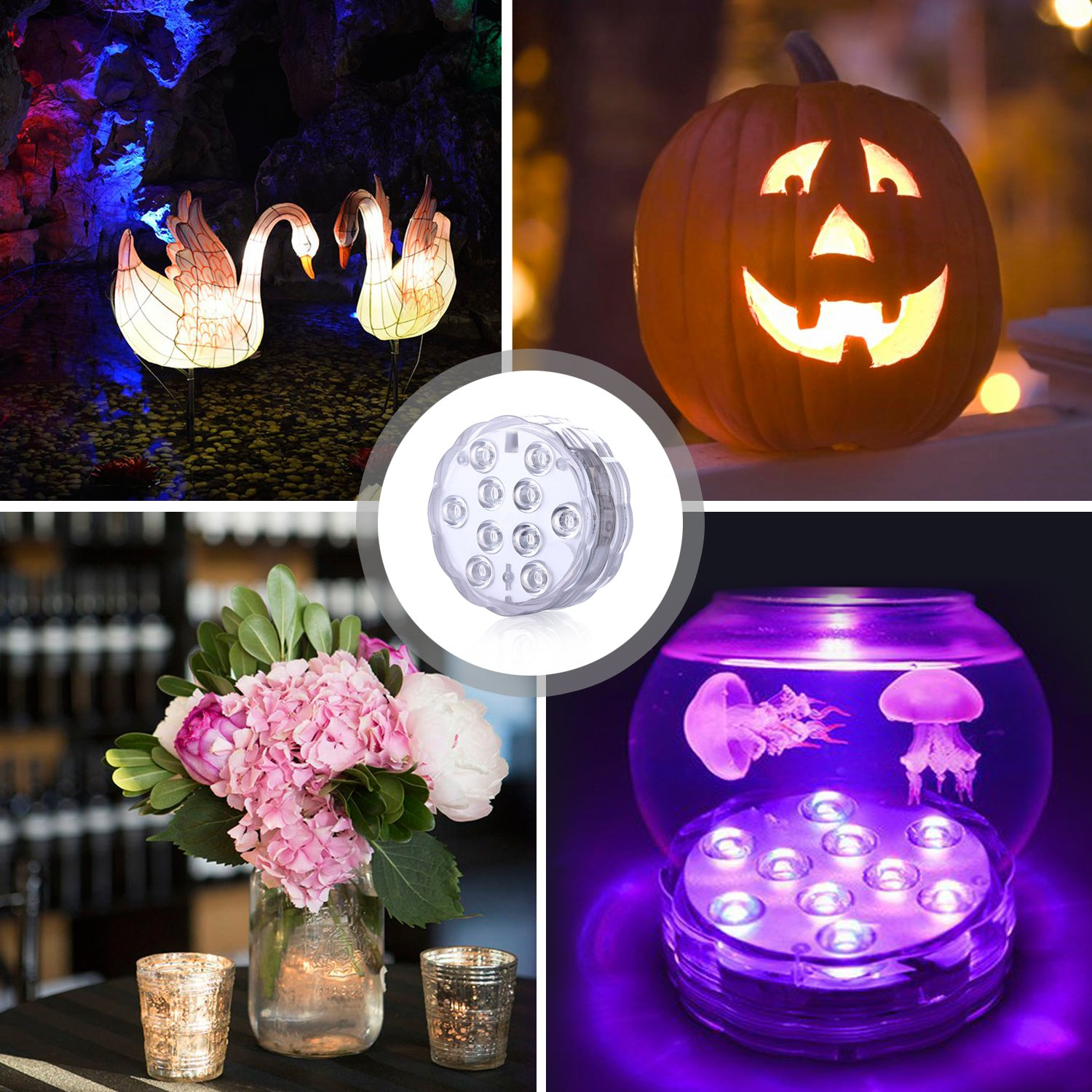 2 Pack Pond UBEGOOD Submersible LED Lights with Remote Waterproof Underwater Led Lights Party Decoration Light for Aquarium Garden Wedding Pool Battery Operated Base Vase Hot Tub