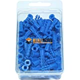 "Premium Quality Blue Ribbed Plastic Anchors, 100 Pack (#10-12 x 1"")"