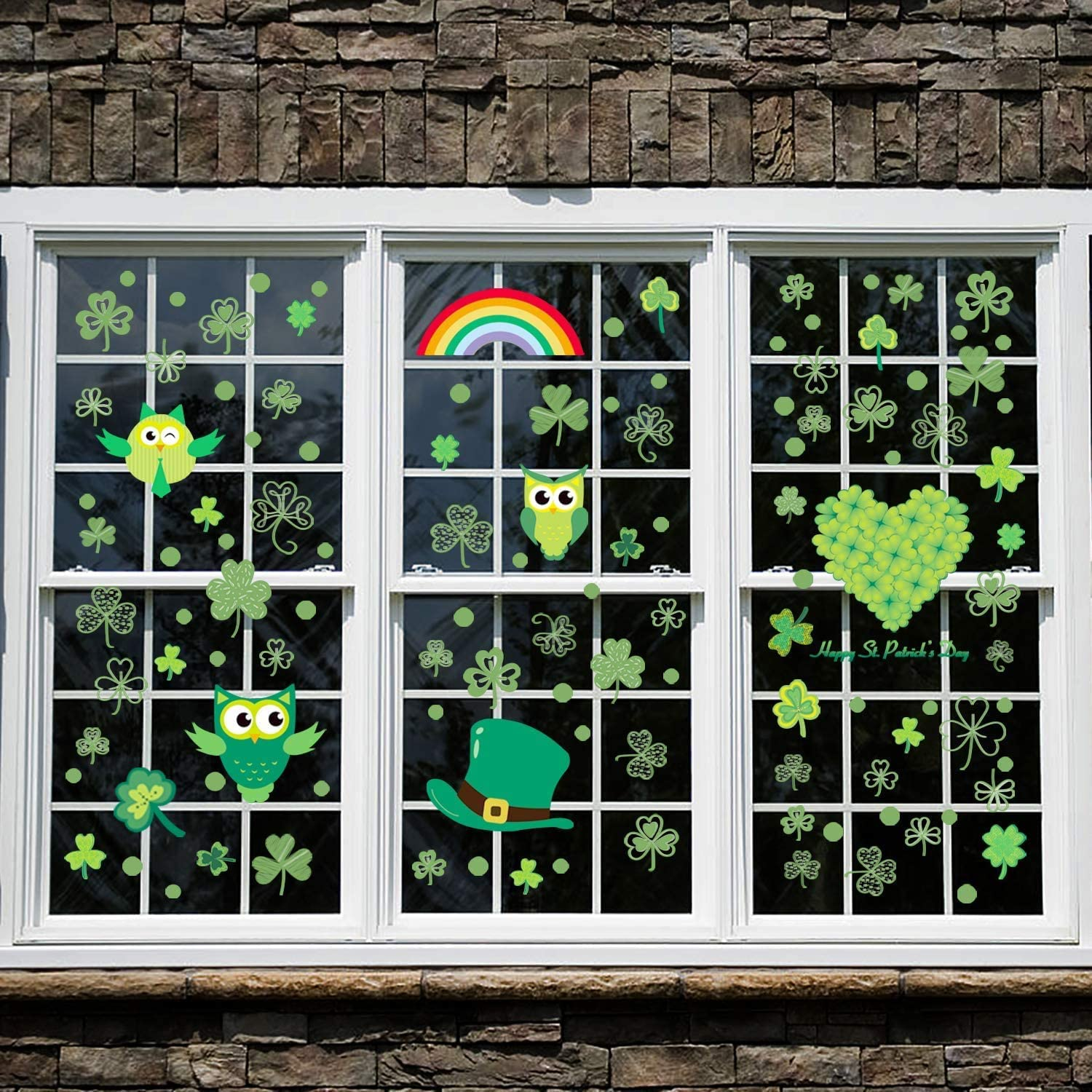 St. Patrick's Day Decorations, Window Decal Stickers Shamrock Decorations Window Clings Decal Stickers Party Ornaments