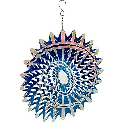 Dundee Deco W2213 Wind Spinner in Gift Box - 3D Hanging Indoor Outdoor Yard Garden Decoration - Mandala - Spiral Nova Splash - Blue Beige - 12 in - Unique Gift Idea for Men Women, Souvenir, Present : Garden & Outdoor