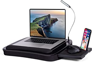 Deluxe Lap Desk for Laptop and Writing - Black - Laptop Stand Accessories - Home Office Tray - Work from Home - Car Sofa Chair Couch Portable Desk - Pillow - Reading Light - Tablet Slot (Deluxe)