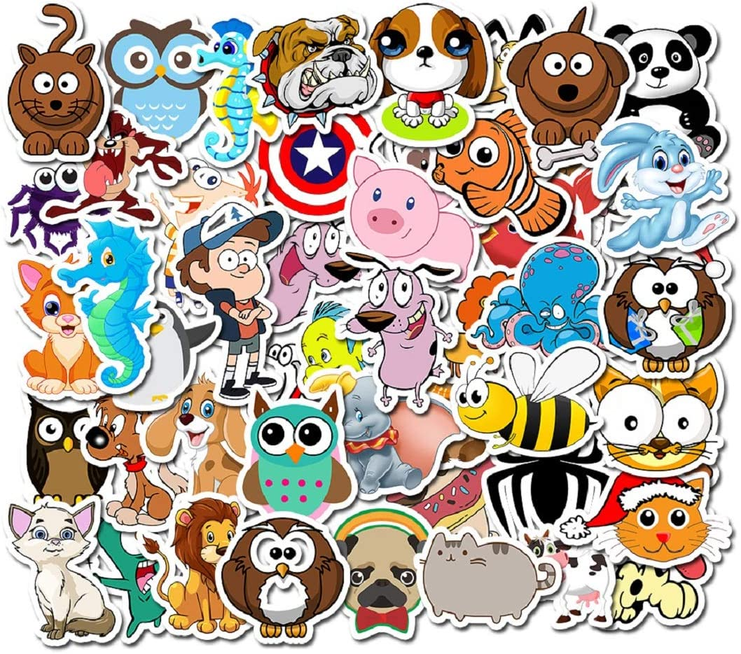 BONANA Animals Stickers Dog Cat Tiger Owl Graffiti Decal for Laptop Water Bottles Car Refrigerator Skateboard Helmet Luggage Bicycle