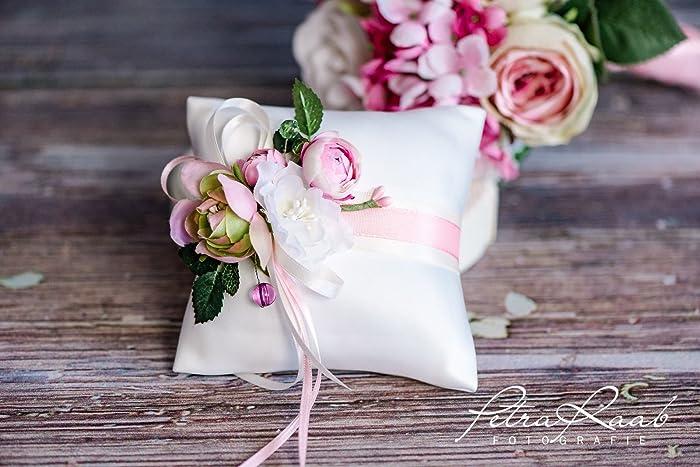 Ringkissen Wedding Pillow Hochzeit Ringe Ivory Rosa Bluete