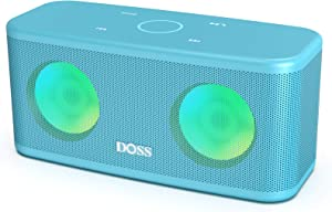 DOSS SoundBox Plus Portable Wireless Bluetooth Speaker with HD Sound and Deep Bass, Wireless Stereo Pairing, Built-in Mic, 20H Playtime, Portable Wireless Speaker for Home, Outdoor,Travel-Tiffany Blue