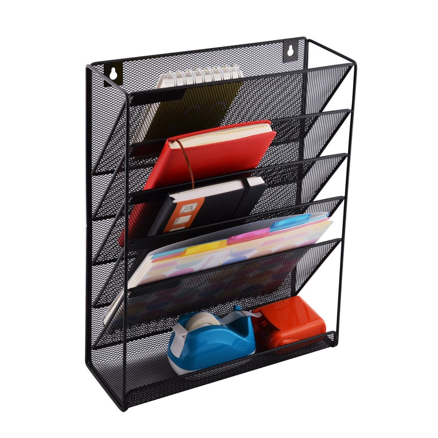 Wall Hanging File Holder Organizer for Office Home, 5-Tier Black Metal- Yuugen Products by Yuugen Products (Image #5)