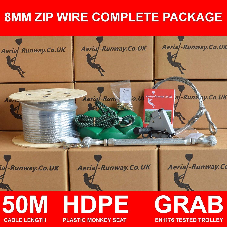 Aerial-Runway Grab-IT - Cable con Cremallera para jardín de 8 mm con Asiento de Mono, tensión, Freno de Bricolaje: Amazon.es: Juguetes y juegos