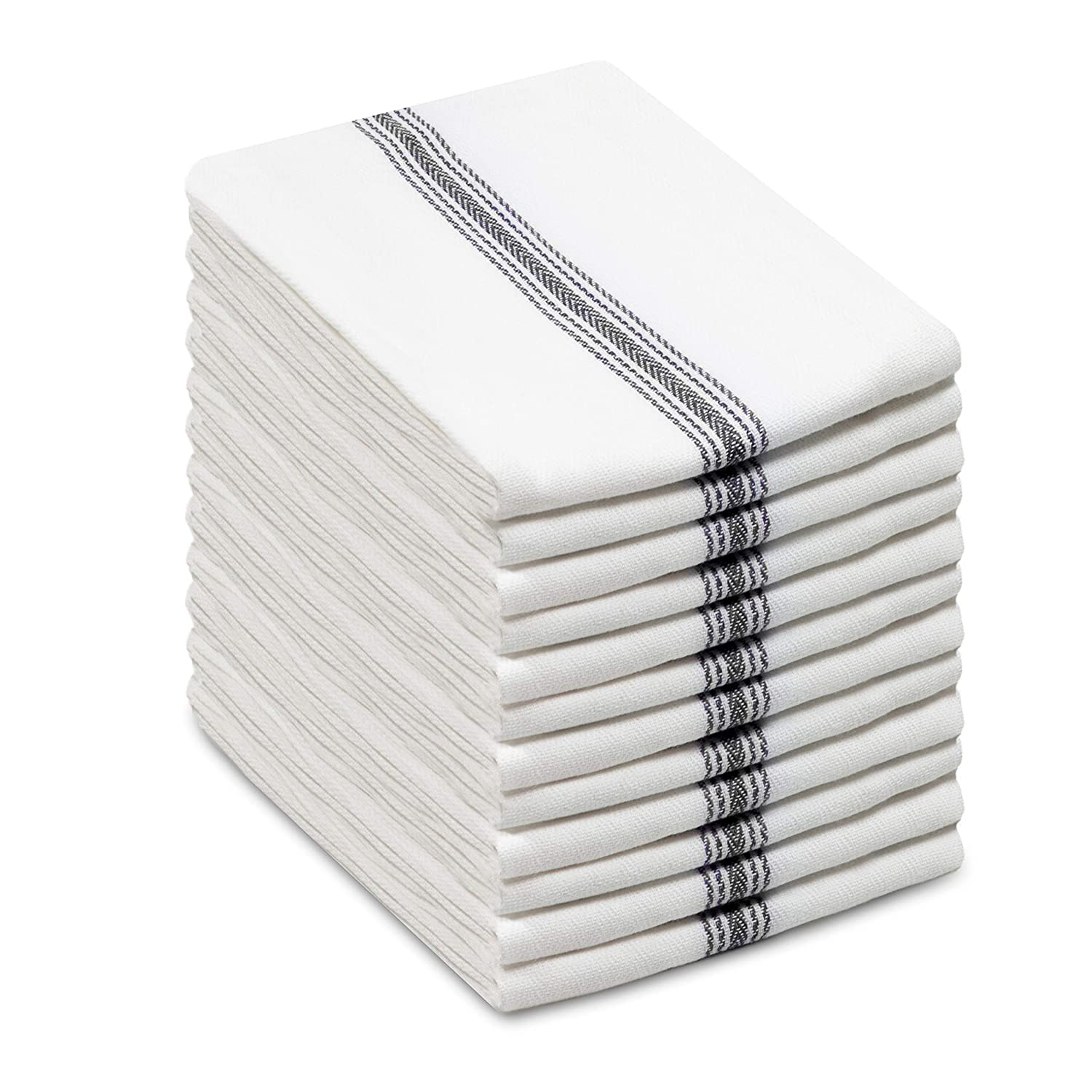 Cotton Craft - Scandia Stripe Charcoal & White 12 Pack Superior Professional Grade Kitchen Dish Tea Towels - May Also be Used as Napkins - 16x28 30 Ounces Pure 100% Cotton, Low Lint, Sturdy Weave
