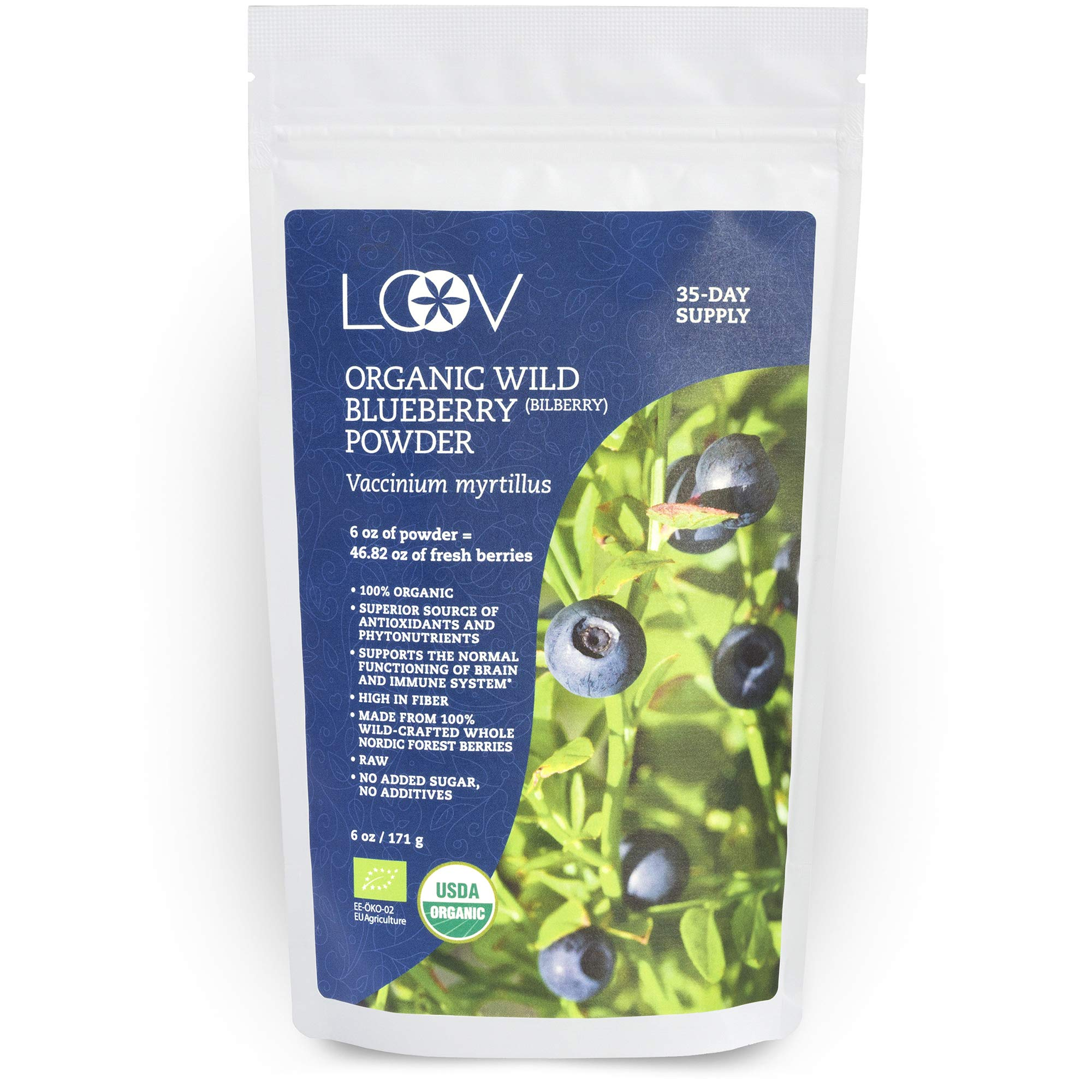 Organic Wild Blueberry Powder, wild-crafted from Nordic forests, 100% whole fruit blueberry, 35-day supply, 6 oz, freeze-dried and powdered wild blueberries, high in anthocyanins, free recipe book