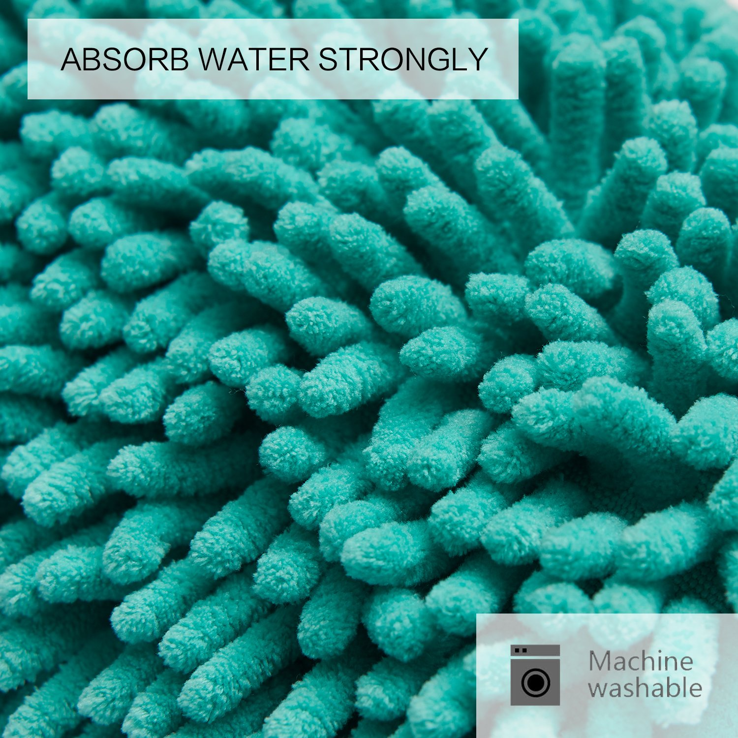 Turquoise Bath Rugs For Dry The Feet Simple Turquoise: DEARTOWN 20x32 Inch TPR Non-Slip Soft Microfibers Of