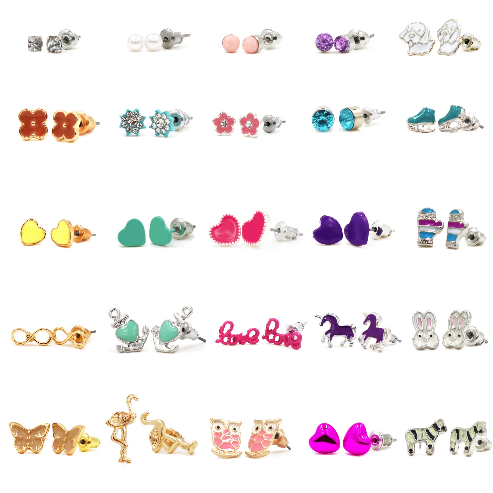 Cryseam Gold Plated&Sliver Plated 25 Pairs Stainless Steel Post Multiple Animal Artificial gem Stud Earrings Set for Girls lady women (Style 2)