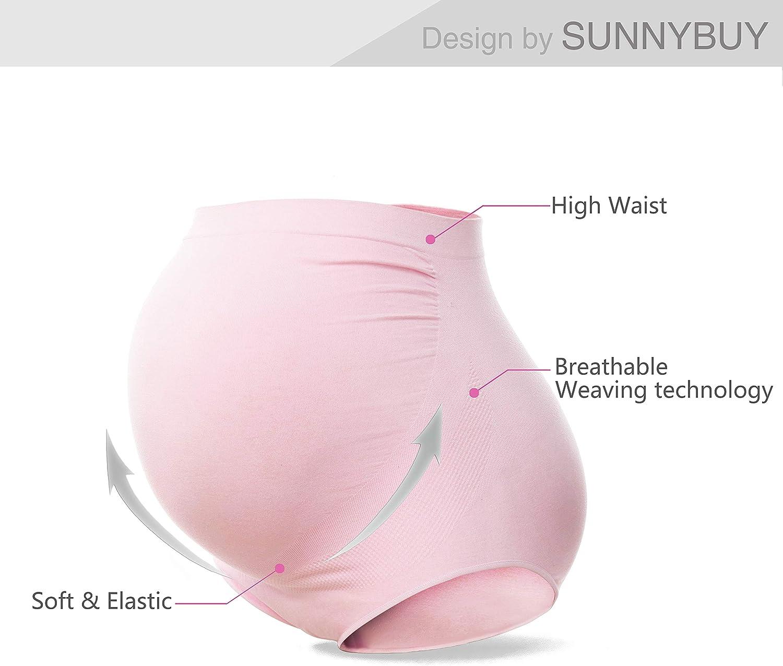 SUNNYBUY Womens Maternity High Waist Underwear Pregnancy Seamless Soft Hipster Panties Over Bump