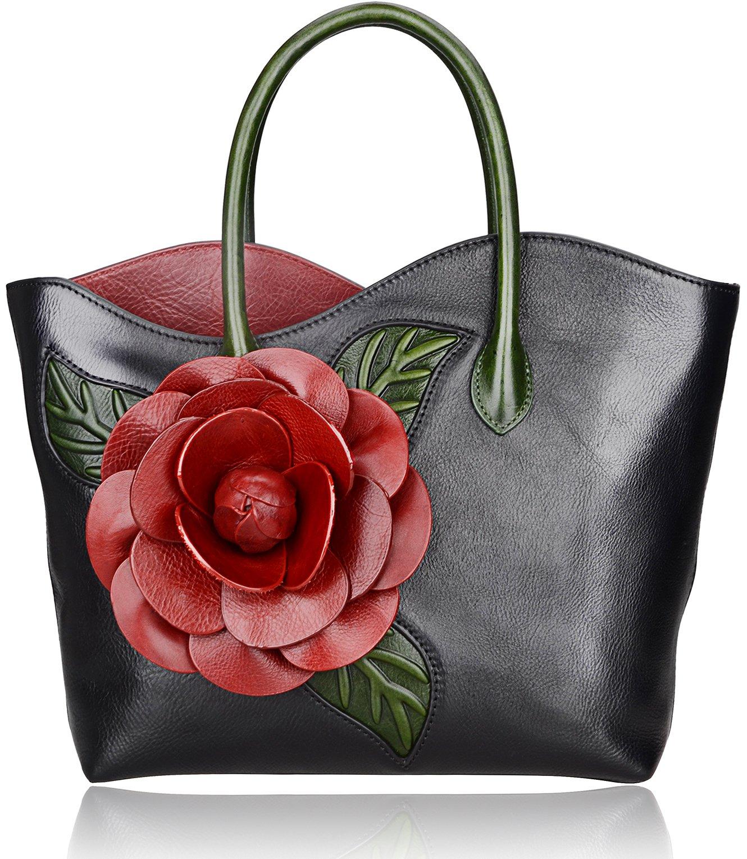 Pijushi Floral Shoulder Handbags Ladies Designer Handmade Flower Leather Tote Bag Holiday Gift 8825 (Black)