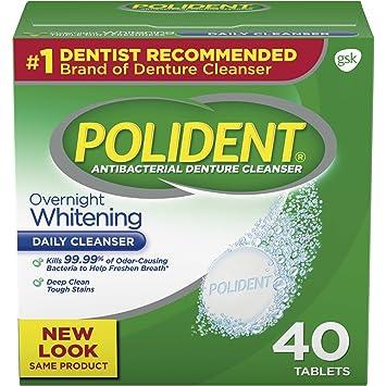 amazon com polident overnight whitening antibacterial denture