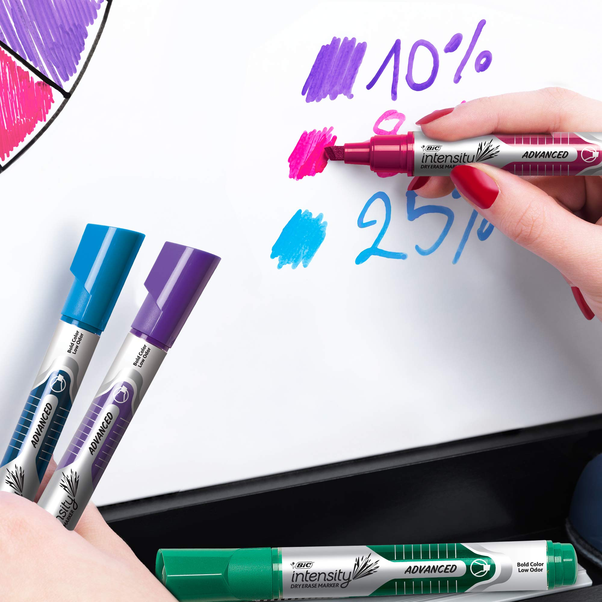 BIC Intensity Advanced Dry Erase Marker, Tank Style, Chisel Tip, Assorted Colors, 24-Count (packaging may vary) by BIC (Image #5)