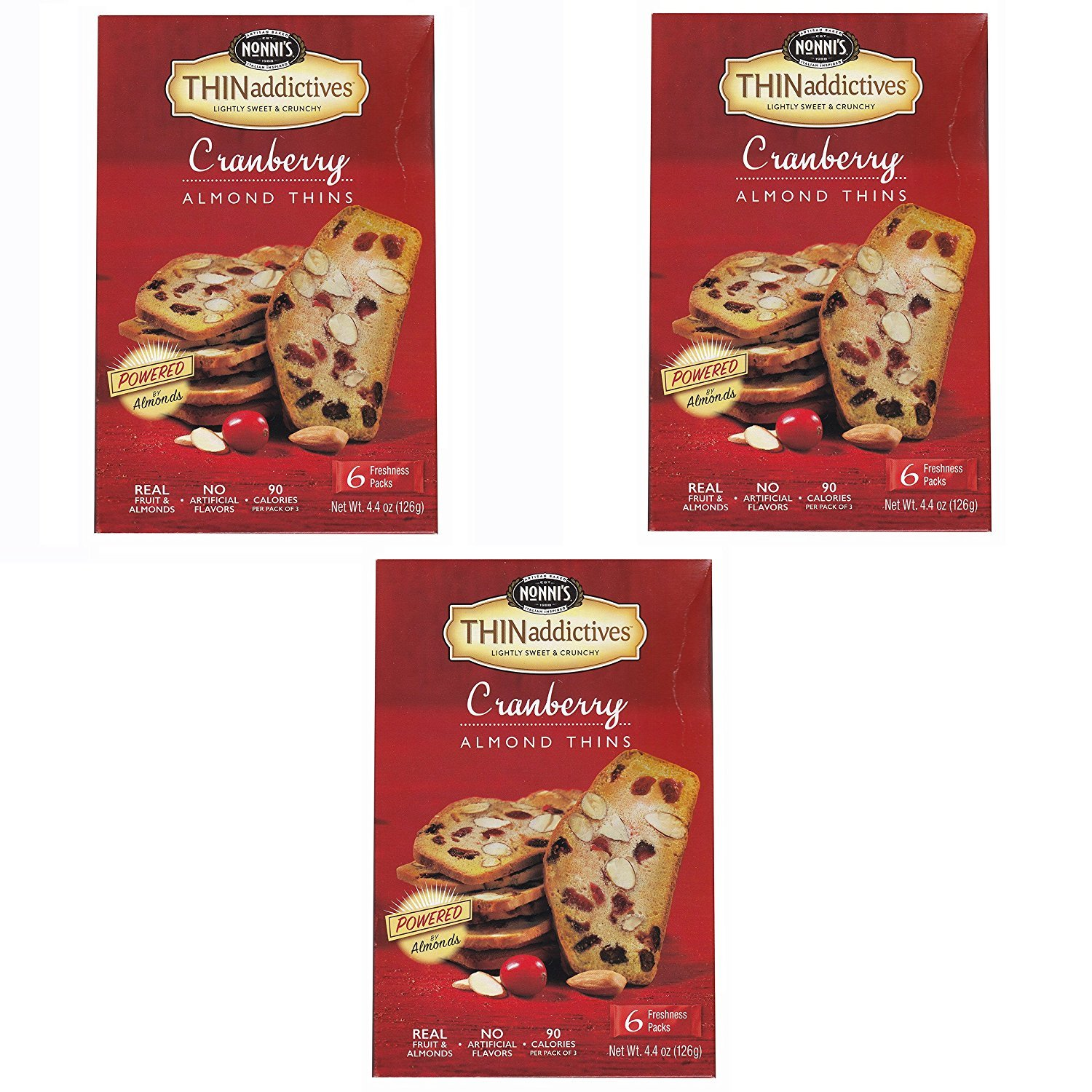 Nonni's Thin Addictives Cranberry Almond Thins 4.4oz ( 3 Pack)