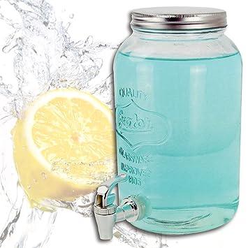 (382) Dispensador de Bebidas, depósito de Cristal con Grifo, Capacidad: 3 litros.: Amazon.es: Hogar