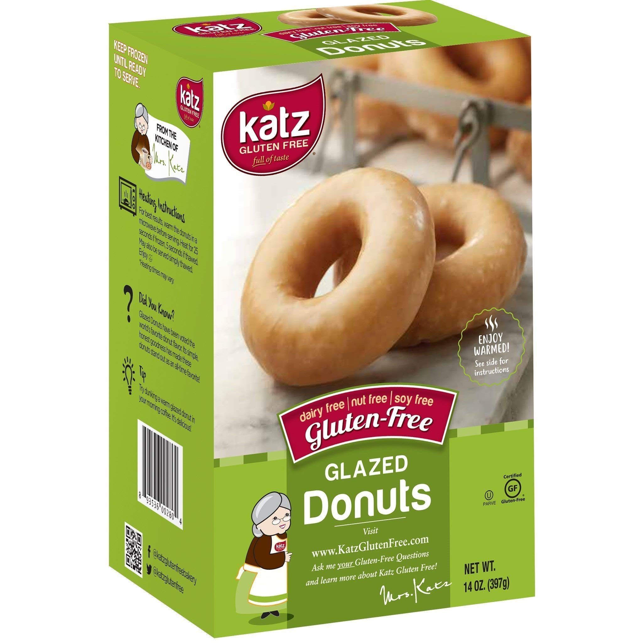 Katz Gluten Free Glazed Donuts | Dairy, Nut, Soy and Gluten Free | Kosher (1 Pack of 6 Donuts, 14 Ounce)