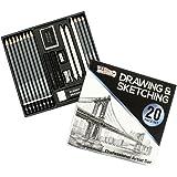 U.S. Art Supply 20 Piece Professional Hi-Quality Artist Sketch Set in Hard Storage Case - Sketch & Charcoal Pencils…