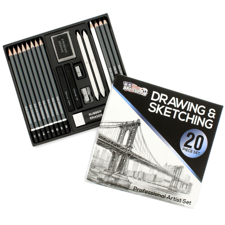 U.S. Art Supply 20 Piece Professional Hi-Quality Artist Sketch Set in Hard Storage Case - Sketch & Charcoal Pencils, Pastel, Stumps, Eraser, Sharpeners by US Art Supply