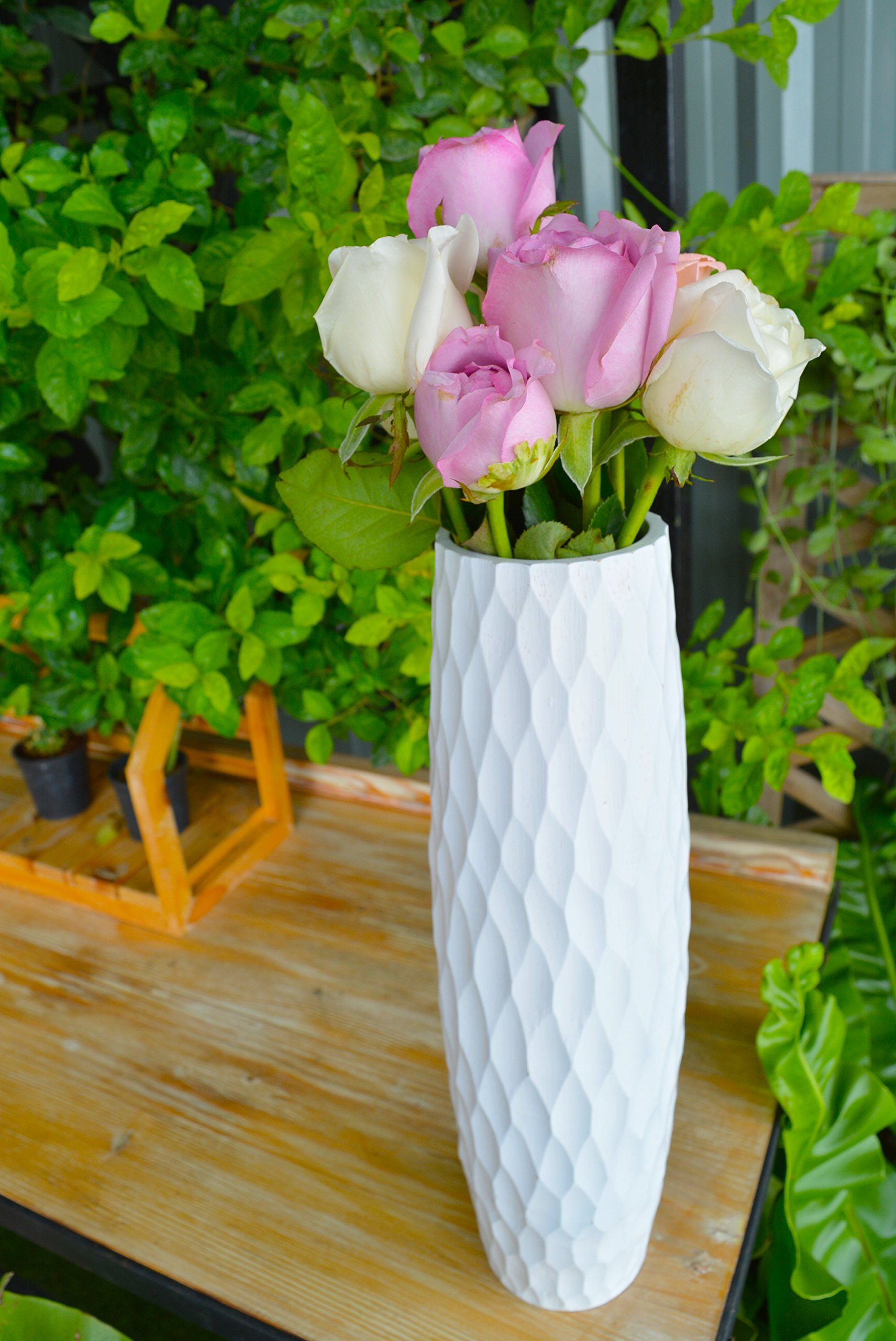 roro Handcarved Textured Rippled Wood Vase, 14 Inch, Pearly White - 14 Inch tall x 3 diameter (3 inch wide) with pearly white finish 100% hand-carved from a small family workshop Made from a single piece of sustainable orchard wood - no forest trees were cut - vases, kitchen-dining-room-decor, kitchen-dining-room - 81xXwqhfJQL -
