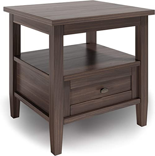 SIMPLIHOME Warm Shaker SOLID WOOD 20 inch Wide Rectangle Rustic End Table
