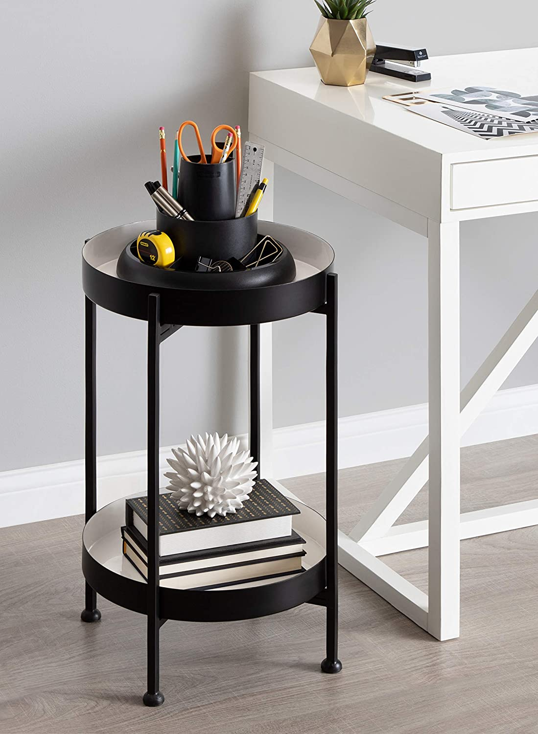 Kate and Laurel Nira Two-Tiered Metal Side Table, 15x15x24, Black/White