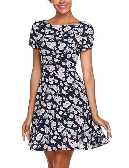 a24e3dd6297 Zeagoo Women s Summer Floral Print Short Sleeve Boat Neck A-Line Swing Fit  Flare Dress