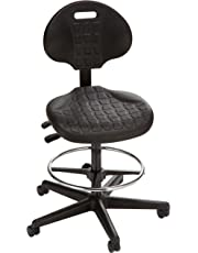 "Bevco 7501-3850S/5 Ergonomic Deluxe Chair with Casters, Tilt Back Adjustment, 18"" Dia. Adjustable Chrome, Reinforced Plastic Base, 22"" to 32"" Height Adjustment, Black"