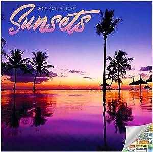 Sunsets Calendar 2021 Bundle - Deluxe 2021 Sundown Mini Calendar with Over 100 Calendar Stickers