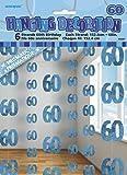 Unique Party - 55337 - Paquet de 6 Décorations de 60e Anniversaire Suspendues - 1,5 m - Bleu Glitz