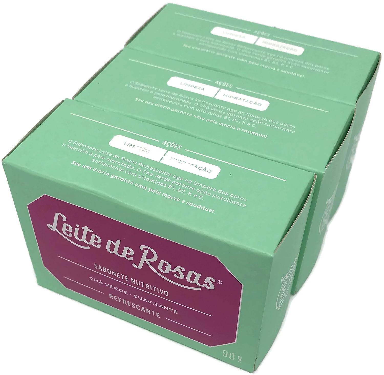 Amazon.com : Linha Refrescante Leite de Rosas - Sabonetes em Barra (3 x 90 Gr) - (Leite de Rosas Refreshing Collection - Bar Soaps (3 x Net 3.18 Oz)) : ...
