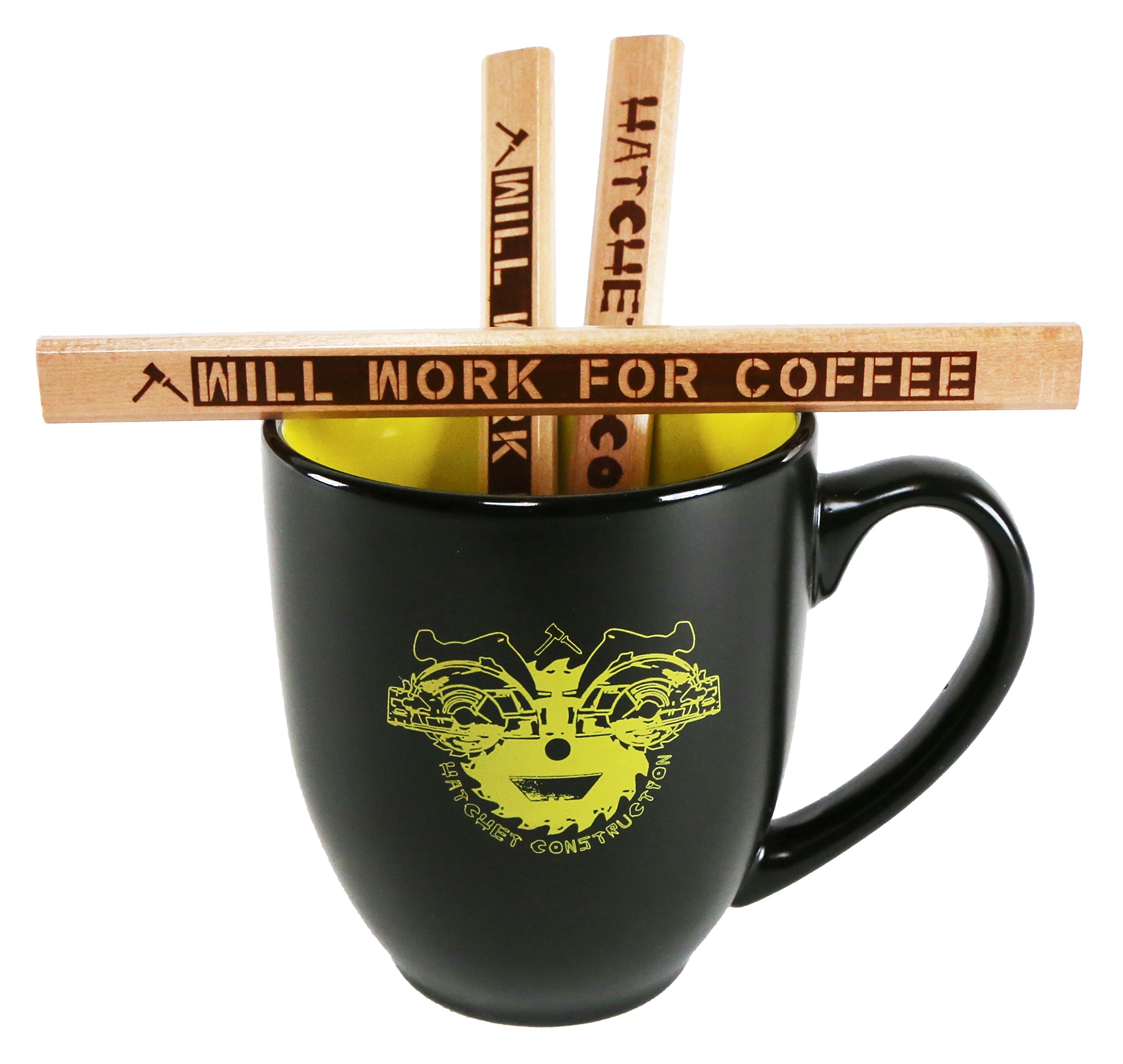 Funny Will Work For Coffee Carpenter Pencil and saw blade design Smiley Face Coffee Mug Bundle Pack