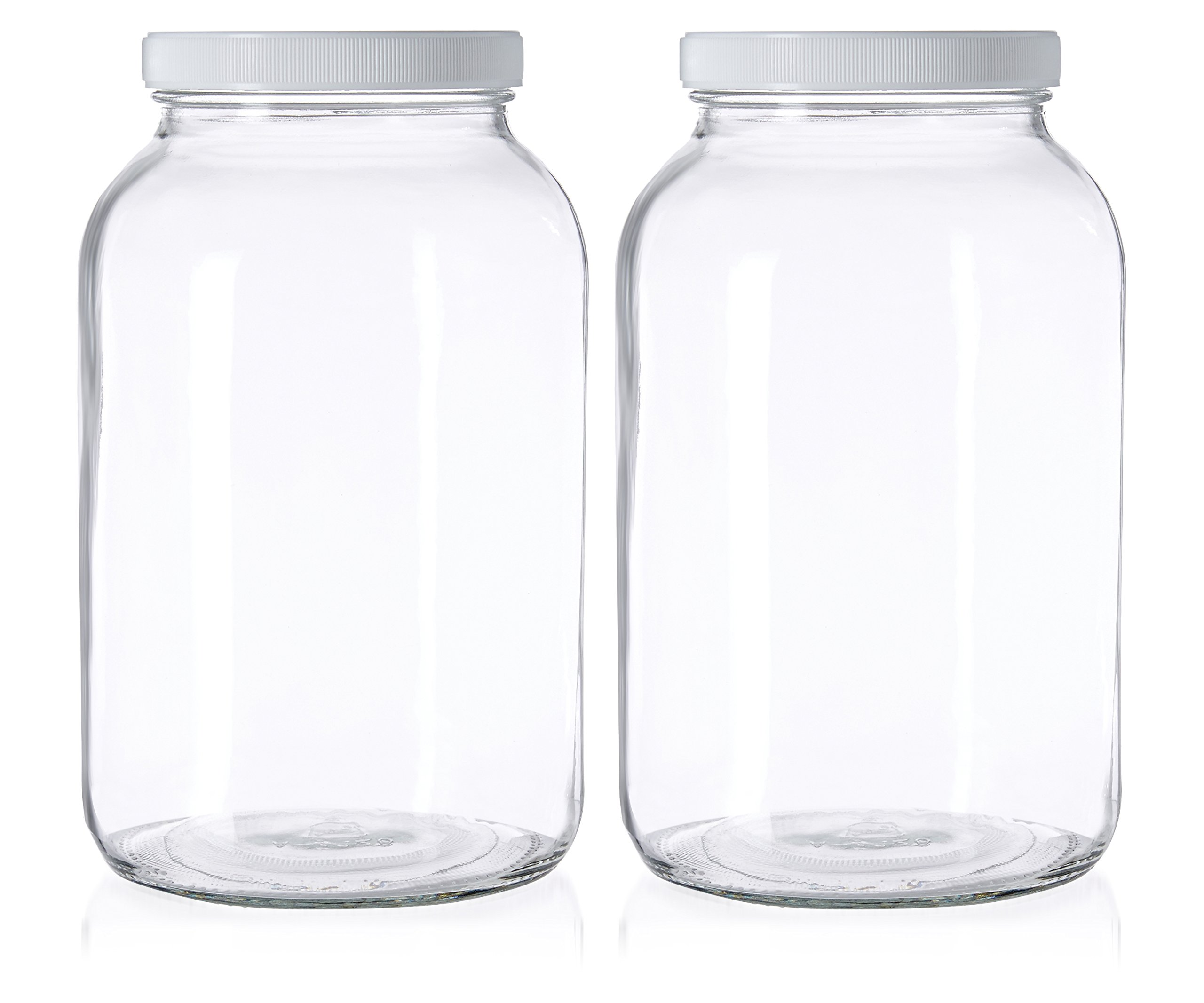 2 Pack - 1 Gallon Glass Jar Wide Mouth with Airtight Foam Lined Plastic Lid - Safe Mason Jar for Fermenting Kombucha Kefir - Pickling, Storing and Canning - By Kitchentoolz