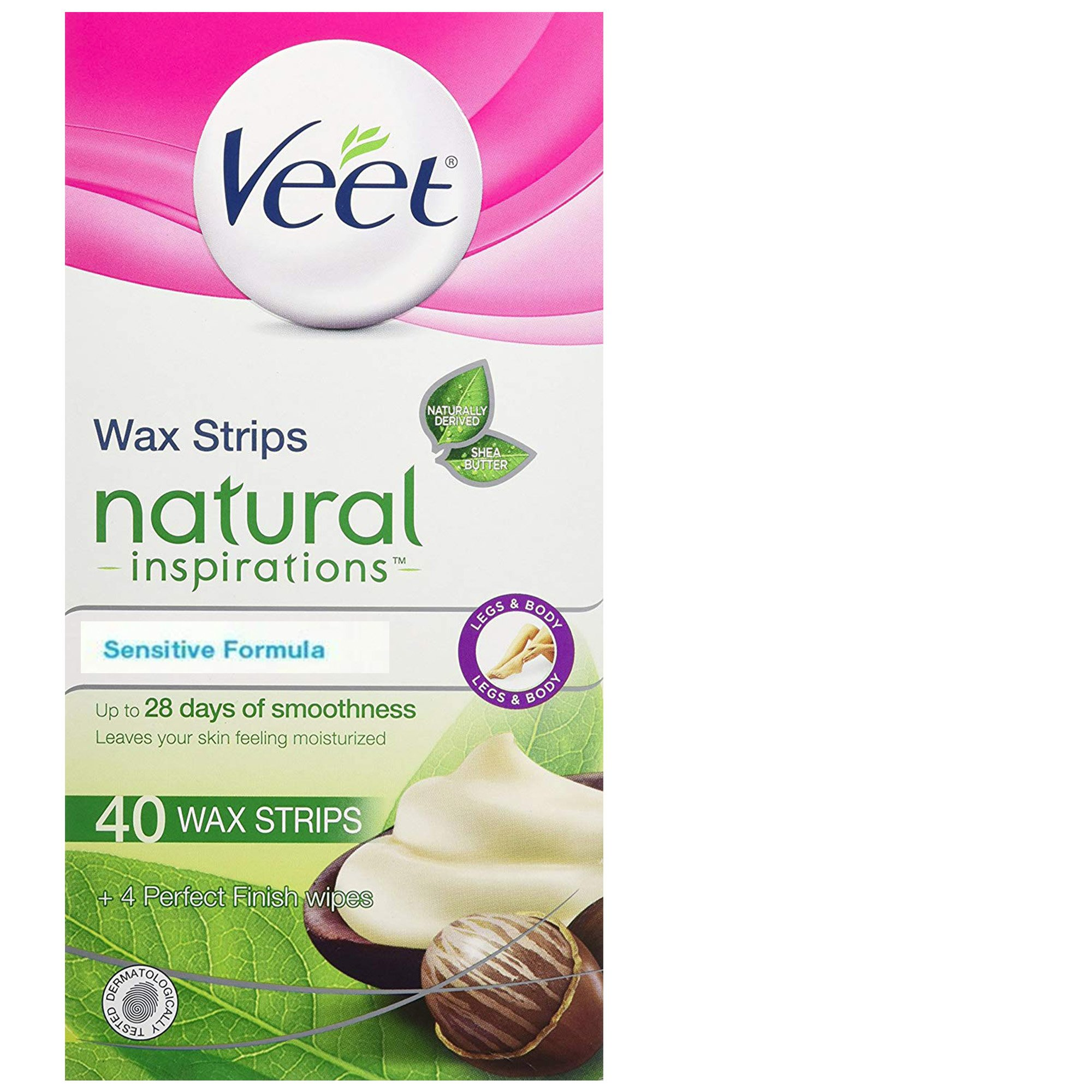 Veet Natural Inspirations, Hair Removal, Precision Wax Strips with Shea Butter, Sensitive, Legs & Body, 40 Count