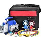 GCSJ 3CFM,1/4HP Bomba de Vacío, 85 litros / min , Juego de Manómetros Diagnósticos, Para la reparación de equipos de aire acondicionado y refrigeración Ideal para R22, R134a, R410A, R407C