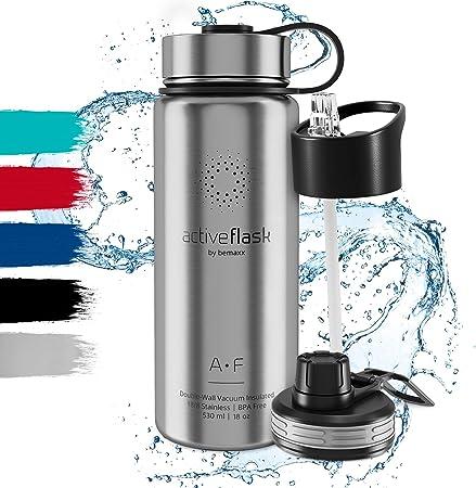 Botella de Agua Térmica Active Flask + Pajita (3 Tapones) sin BPA ...