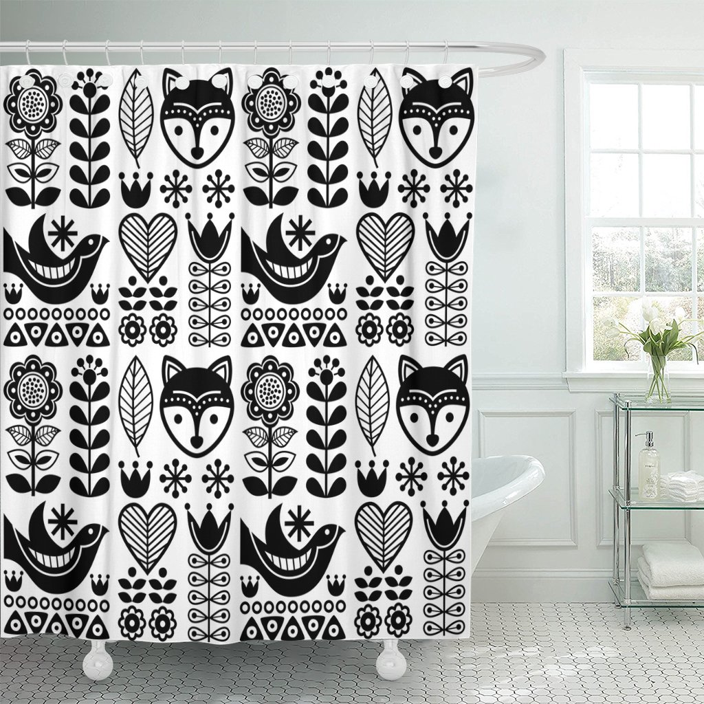amazon com tompop shower curtain simple scandinavian folk pattern rh amazon com