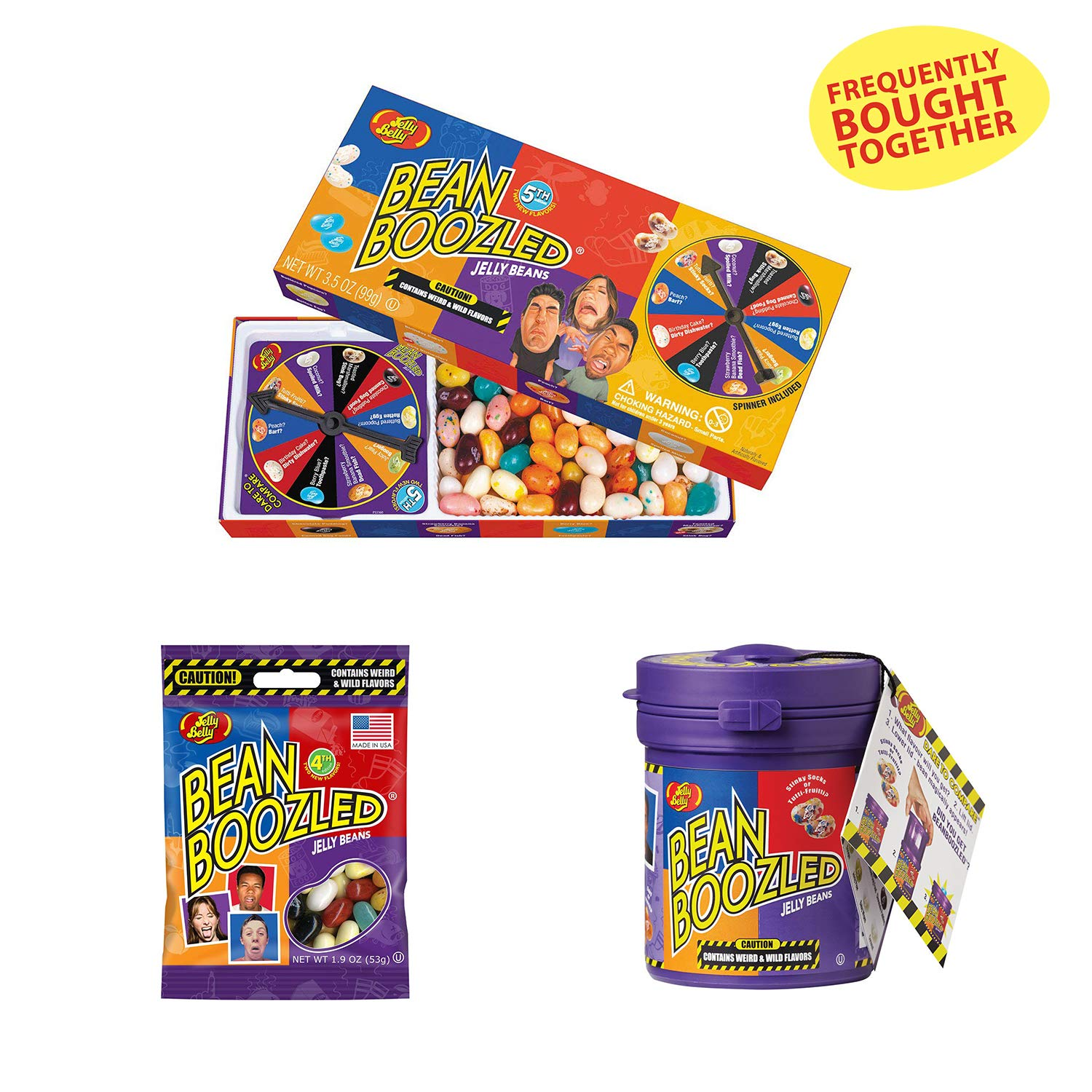 Jelly Belly BeanBoozled - Jelly Beans - Spinner Gift Box (5th Edition 3.5-oz) with Mystery Bean Dispenser (4th Edition Assorted Flavors 3.5-oz) and Boozled Bag (1.9 oz) by Jelly Belly