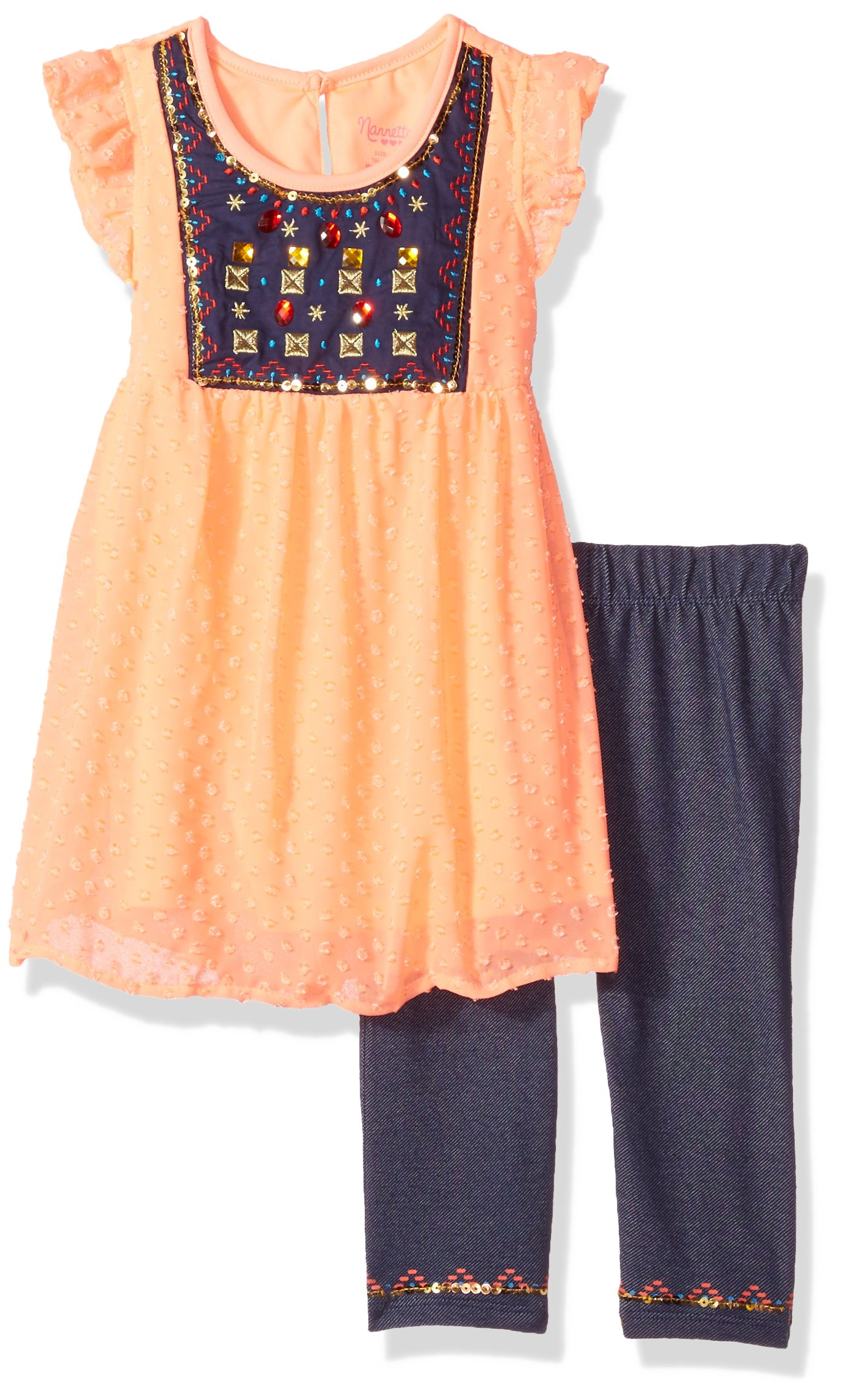 Nannette Toddler Girls' 2 Piece Swiss Dot Top with Embelished Rhinestones and Knit Denim Jegging, Coral, 4T
