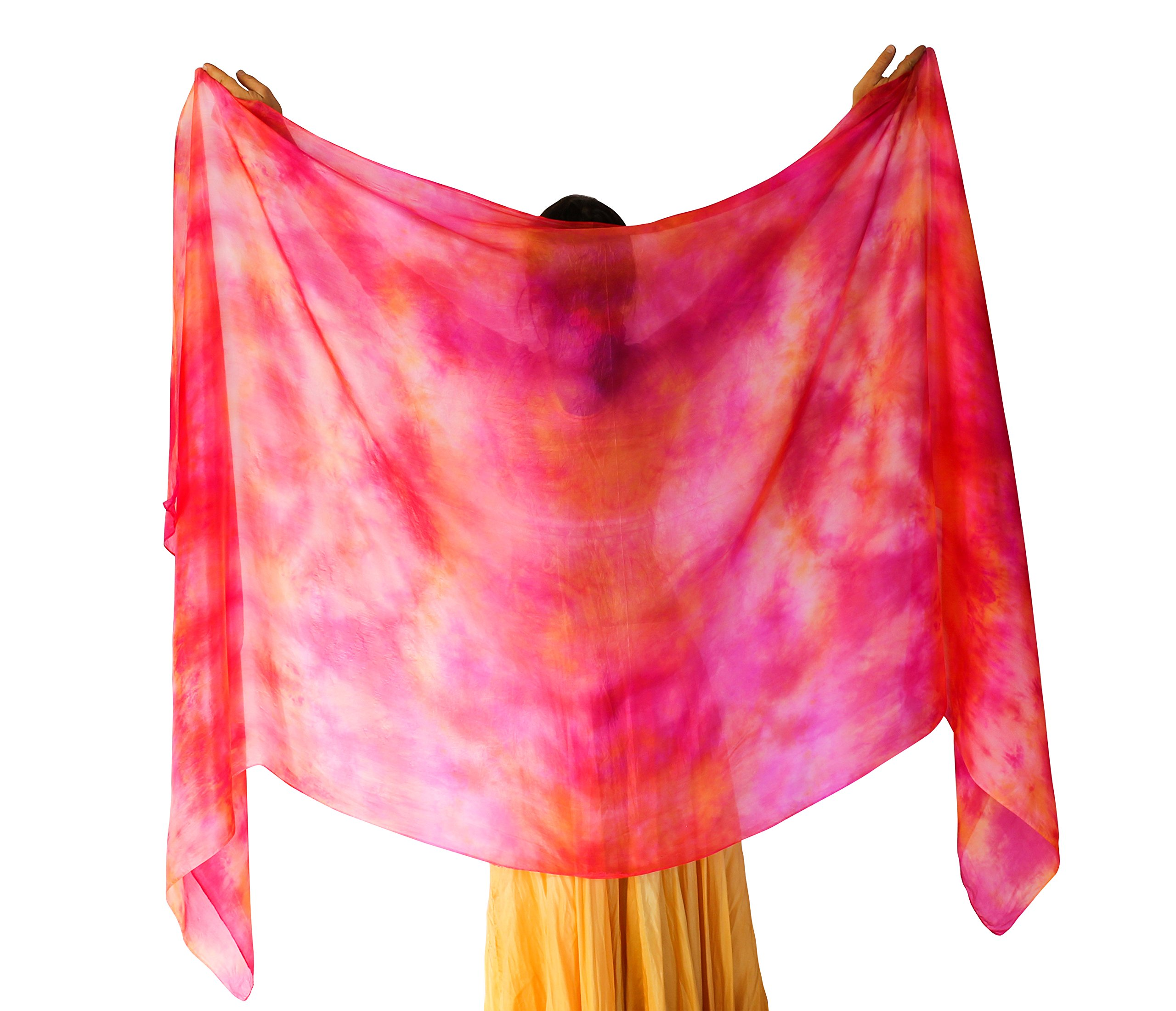 Nahari Silks Womens 100% Silk Dance Scarves Shawls Wraps Solid Colors Fire 108''